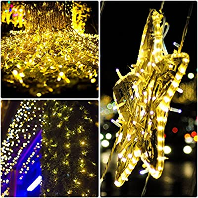 Mpow Solar String Lights, 33ft 100LED Outdoor String Lights, Waterproof Decorative String Lights for Patio, Garden, Gate, Yard, Party, Wedding, Christmas (Warm White) 4 Pack : Garden & Outdoor