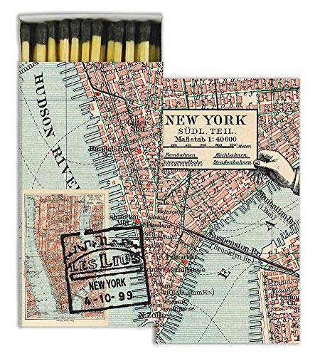 HomArt New York City Map Large Decorative Matches Set Of 2 matchboxes -