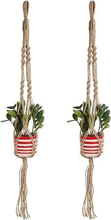 Macrame Plant Hangers Indoor Outdoor Flower Hanging Basket Hemp Rope 4 Legs