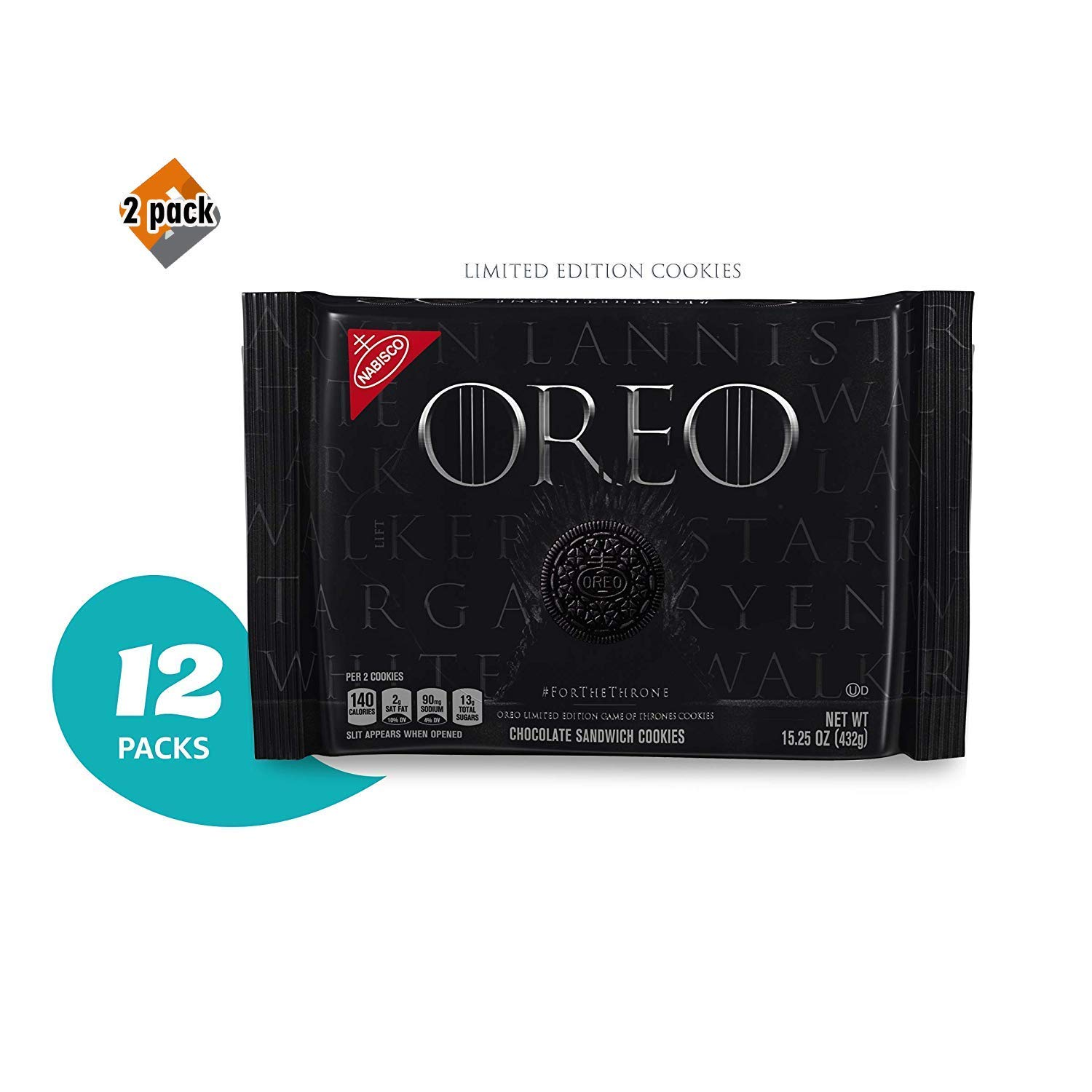 OREO Limited Edition Game of Thrones Themed Classic Chocolate Sandwich Cookies (Pack of 12) 2 Pack