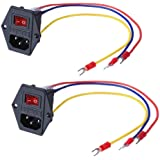3Dman 15A 250V Rocker Switch Power Socket Inlet Module Plug 5A Fuse Switch with 18 AWG Wiring 3 Pin IEC320 C14-2pcs