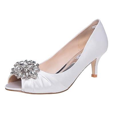 c2a399d4a6e5 SheSole Ladies Low Heel Court Shoes Pumps for Women Prom Wedding Party  Sandals White UK Size