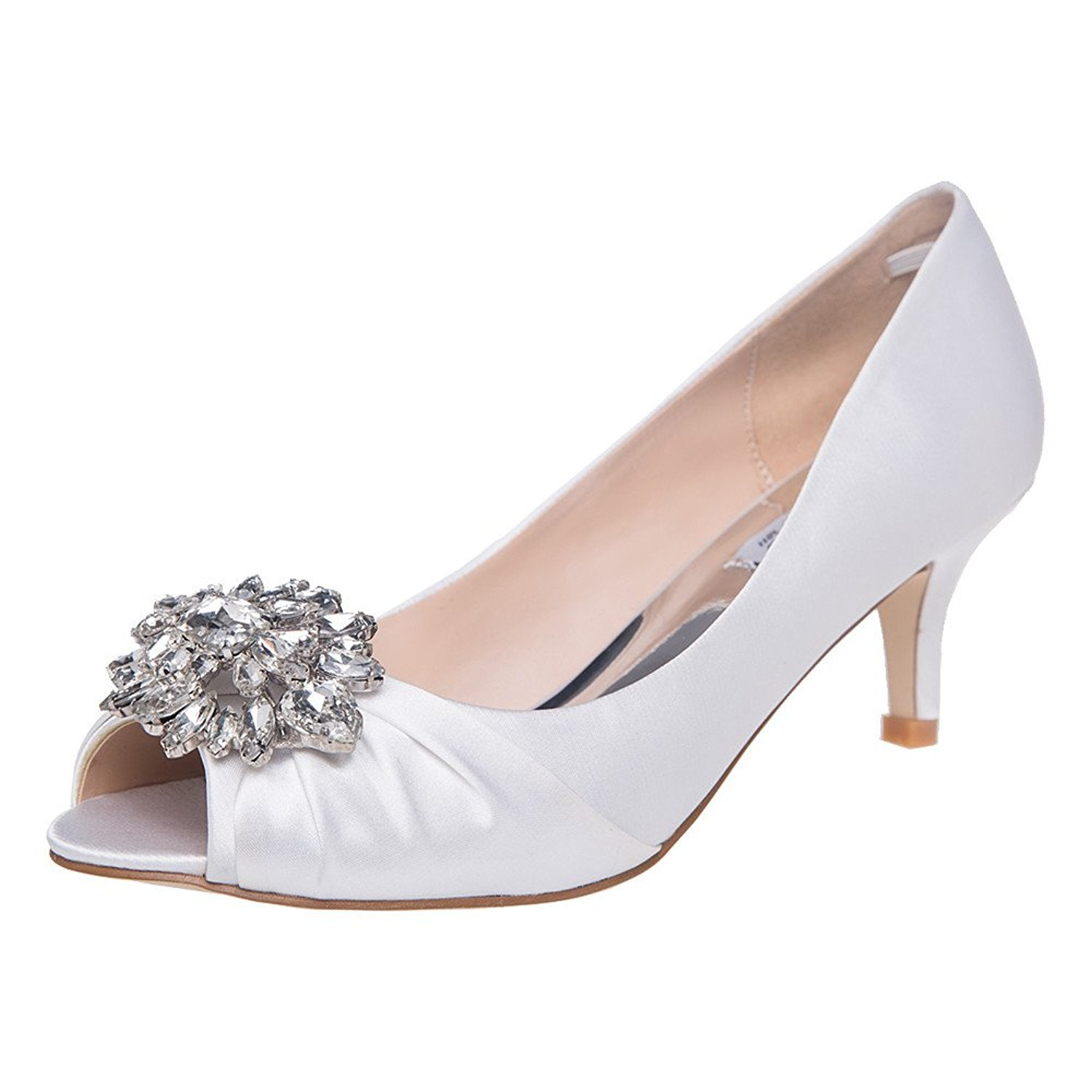 SheSole Womens Low Heel Dress Pumps Rhinestone Open Toe Wedding Shoes White US 9