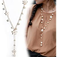 Dolland Elegant Pearl Flower Sweater Chain Long Tassel Pendant Womens Necklace