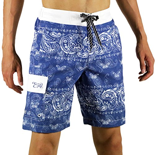 SAFS Men's Board Shorts Swim Trunks Designed Shorts White Paisley Blue 36