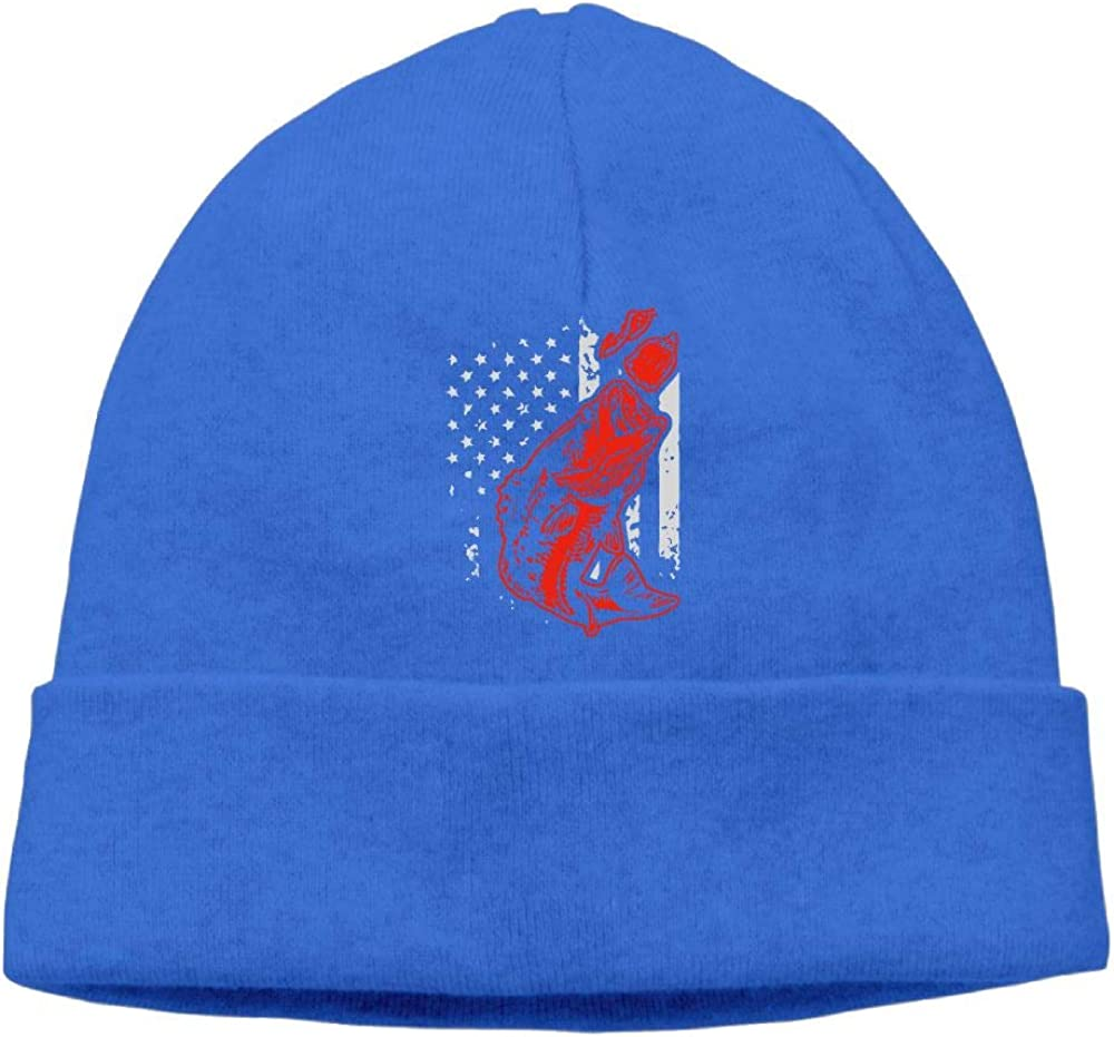 Unisex Bass Fishing Lure and American Flag Outdoor Wool Beanies Hat Soft Winter Knit Caps