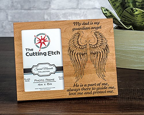 - Engraved Guardian Angel Dad Picture Frame 4x6 (Cherry)