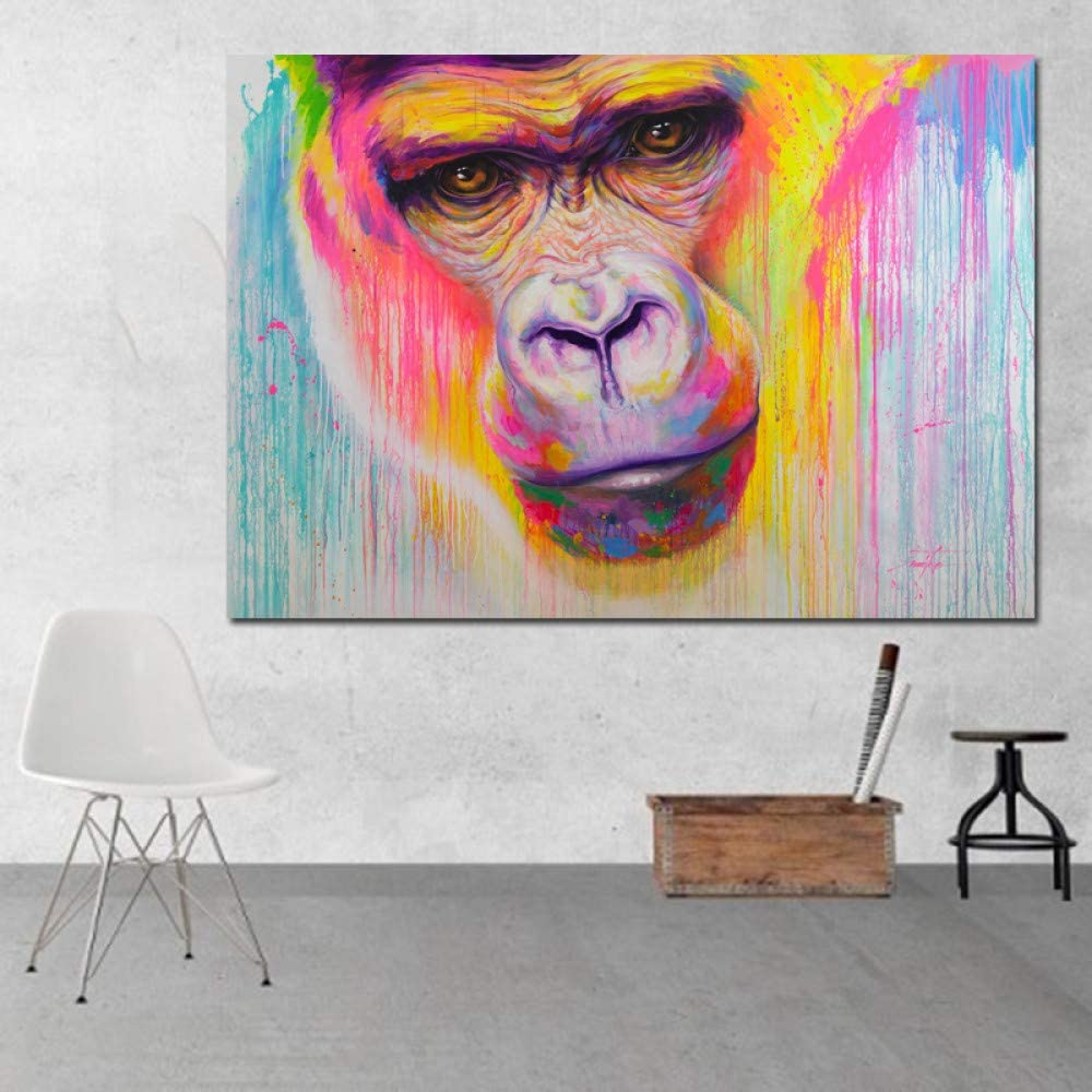 N / A Art Graffiti Street Art Colorful Gorilla Wall Picture for Living Room Canvas Painting Wall Art Print Poster Frameless 70x100cm