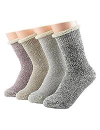 Ziye Shop 4 Pairs Women Girls Thick Cotton Socks Winter Soft Warm Fuzzy Socks