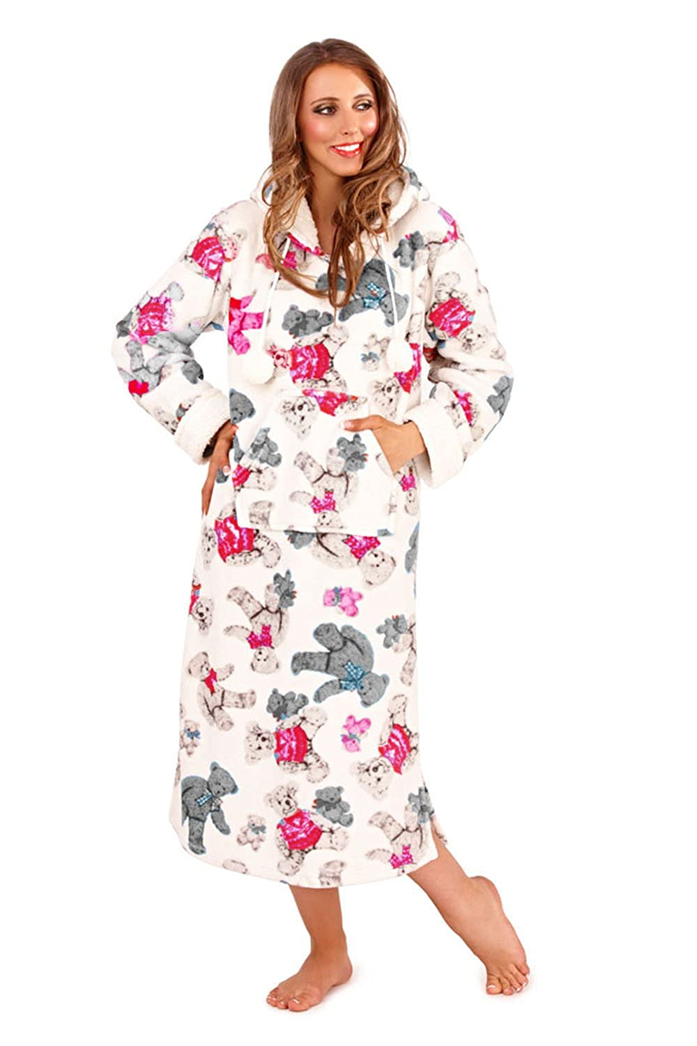 Womens Loungeable Boutique Pink/Mint Teddy Nightdress - Small ...