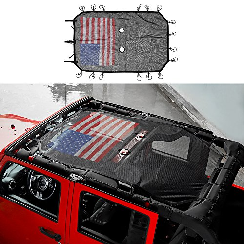 RT-TCZ Jeep Wrangler US Flag Durable Polyester Mesh Shade Top Cover Provides UV Sun Protection for Your 4-Door JK or JKU (Bikini Accessory)