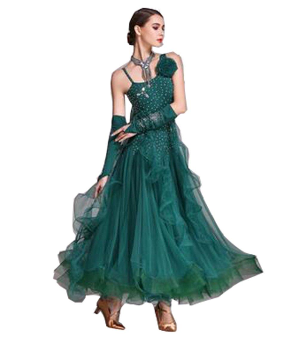 社交ダンスドレス ラテン ダンス 衣装 ダンスウエア 競技 ダンス衣装 高級ドレス ロングドレス ワンピース 豪華モダンなワンピース イベントコスチューム 舞台衣装 競技着 演出用 B07D4H75S4 グリーン XL