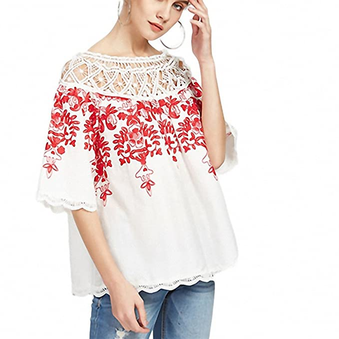 957461aa39696 Cute Crochet Blouse Women White Boho Embroidery Red Vine Vintage Summer Tops  NEW New Sexy Off Shoulder Cut Out Blouse  Amazon.ca  Clothing   Accessories