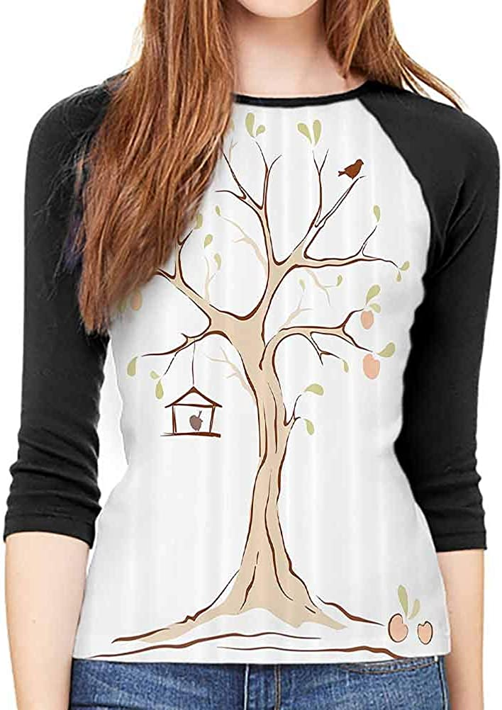 QIAOQIAOLO Tree of Life Decor Collection Autumn T-Shirt for Women Breathable