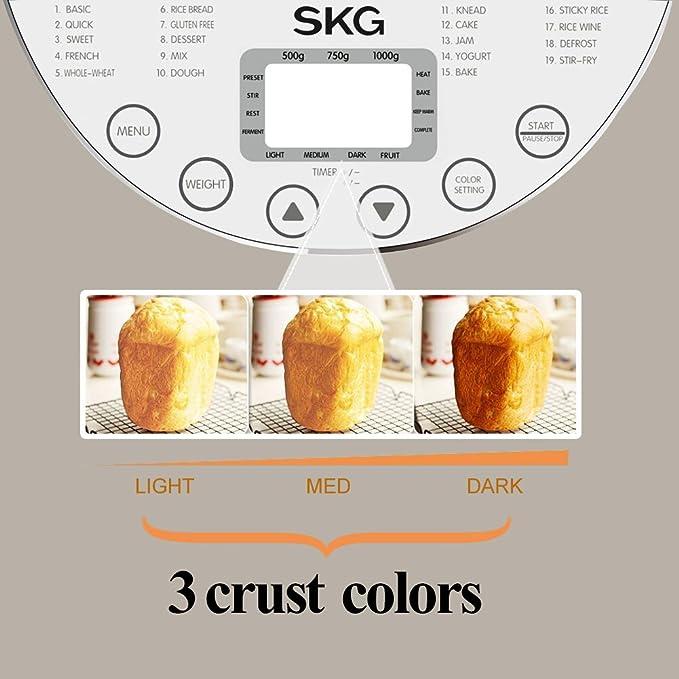 SKG Tools - automático 2-lb Pan eléctrica principiante Friendly - Panificadora programable (19 programas, 3 tamaños molde, corteza, 3 colores, ...