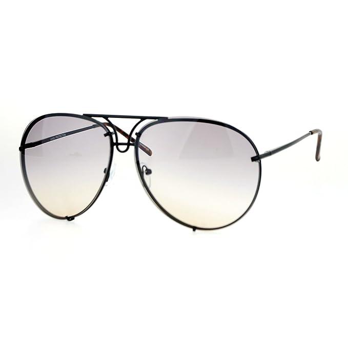 a5cc2ef072 SA106 Retro Vintage Rimless Oceanic Lens Pilot Sunglasses Black Gold