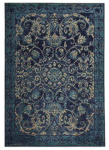 Modela Collection Vintage Medallion Design Traditional Oriental Area Rug Rugs (Navy Blue, (8x11 Area Rug Blue)