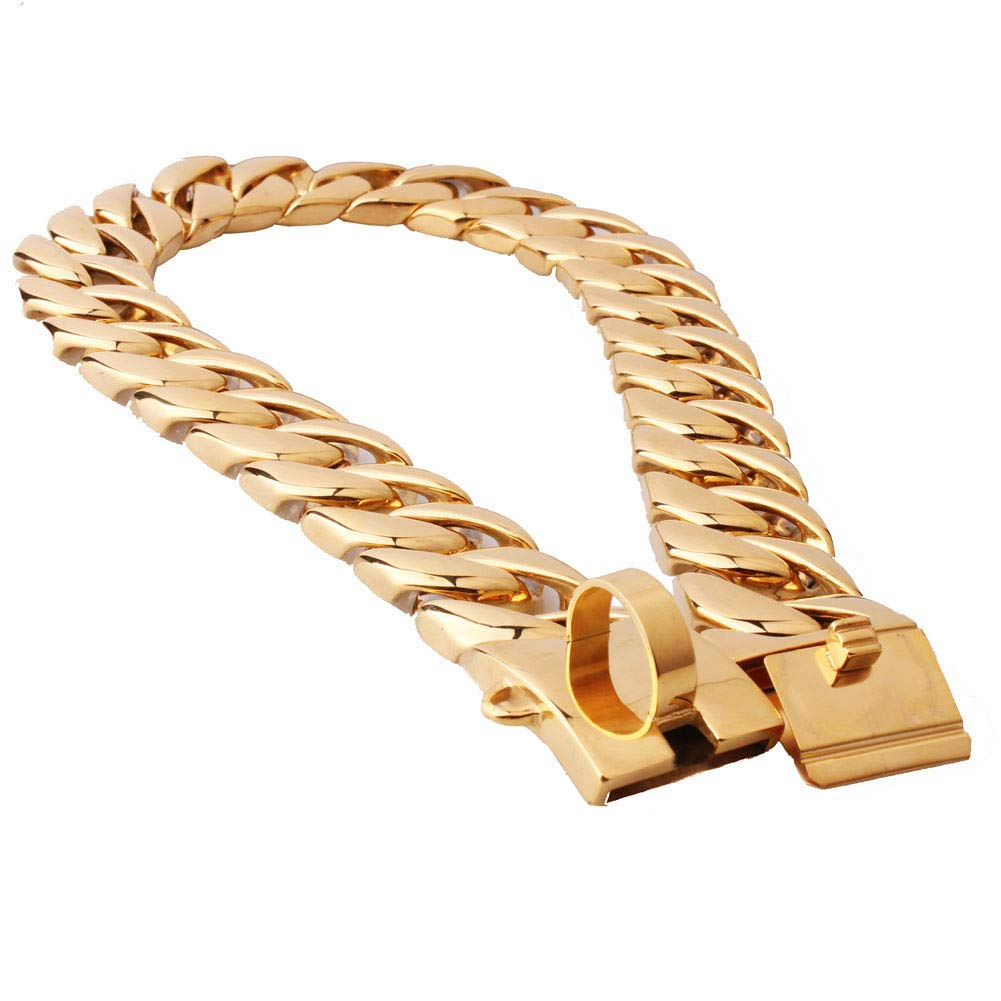 MUJING 32 mm Wide Hip Hop Gold Tone Cut Curb Cuban Link 316L Stainless Steel Dog Choke Chain Collar 40-70CM,F by MUJING (Image #3)