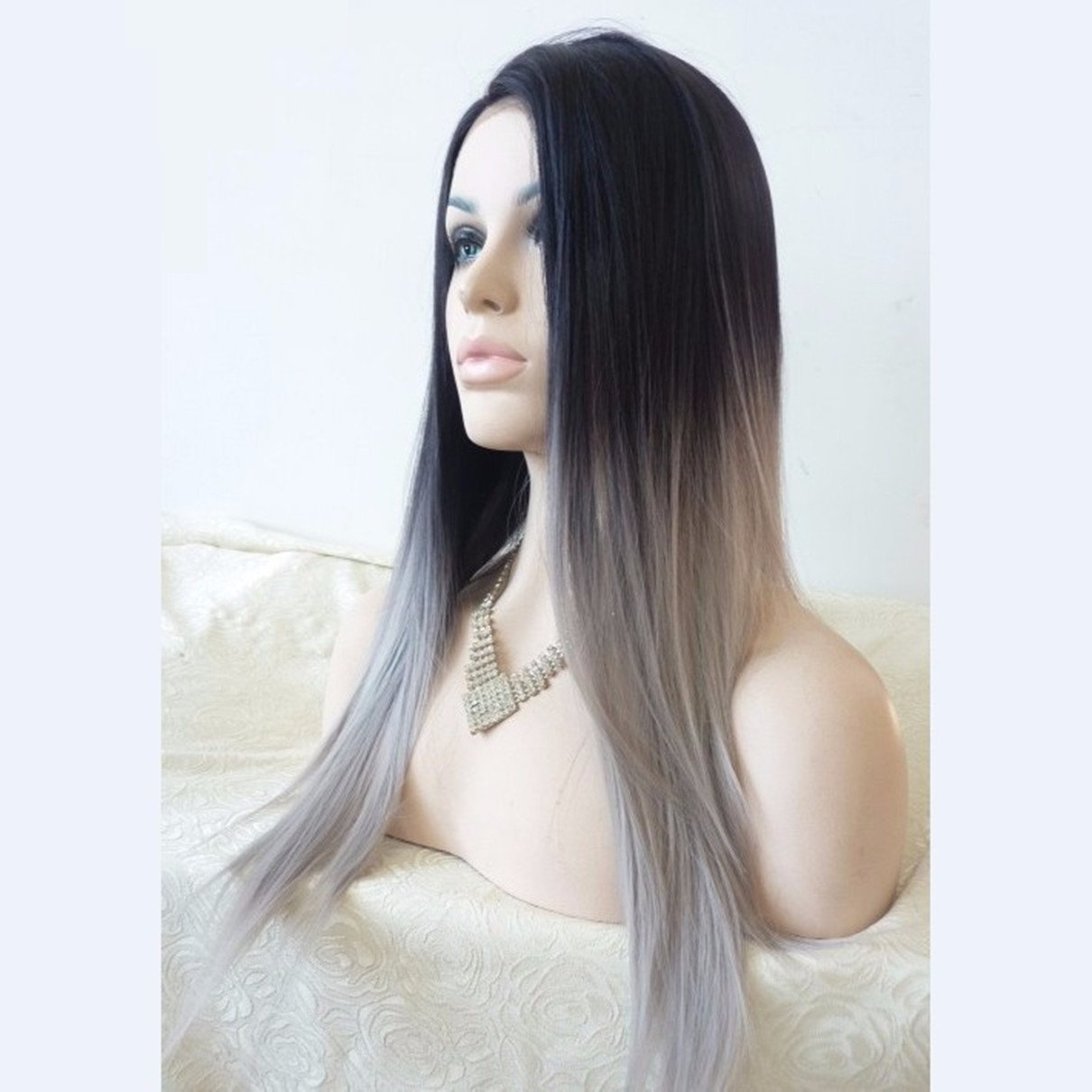 Superwigy Most Popular Cheap Ombre Wig Womens Lady's Long Stright Wigs Two Tone Black to Grey Synthetic Hair Wigs Soft Degree JF011386-HONGA