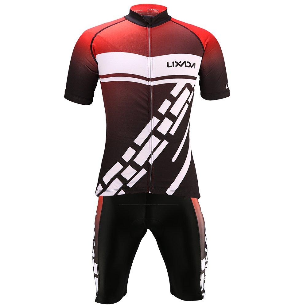 Lixada Mens Cycling Clothes Set Breathable Quick Dry Short Sleeve Bicycle Jersey Shirt+3D Cushion Padded Riding Shorts Tights Pants