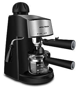 Steam Espresso Machine, SOWTECH 3.5 Bar 4 Cup Espresso Maker Cappuccino Machine with Steamer