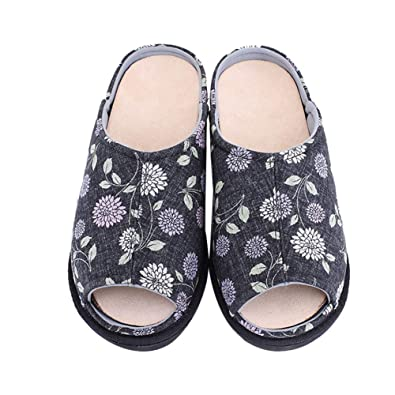 8ac4b018b0e Women s Extra Wide Orthotic Slippers Step-In Open-Toe Roomy Anti-Skid Shoes