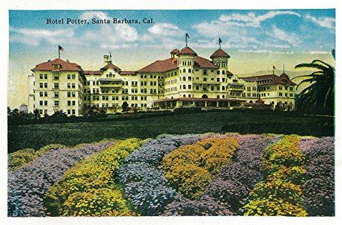 Santa Barbara, California - Hotel Potter and Grounds (12x18 Art Print, Wall Decor Travel Poster) - Hotel Santa Barbara California Art