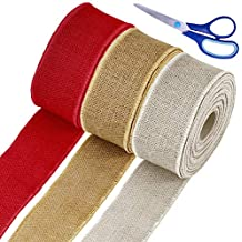 """Supla 30 Yards 2.5"""" Wide Red Natural White Wired Jute Burlap Ribbon Rolls Fall Decorative Christmas Bulk Burlap Wreath Thick Ribbon Rustic Gift Wrapping for Wedding Cake Floral Bows Craft Halloween"""