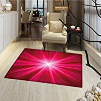 Hot Pink Door Mat indoors Abstract Image Lively Burst Rays Sunbeams Inspired Futuristic Image Floor mat Bath Mat for tub 16x24 Red Hot Pink and White