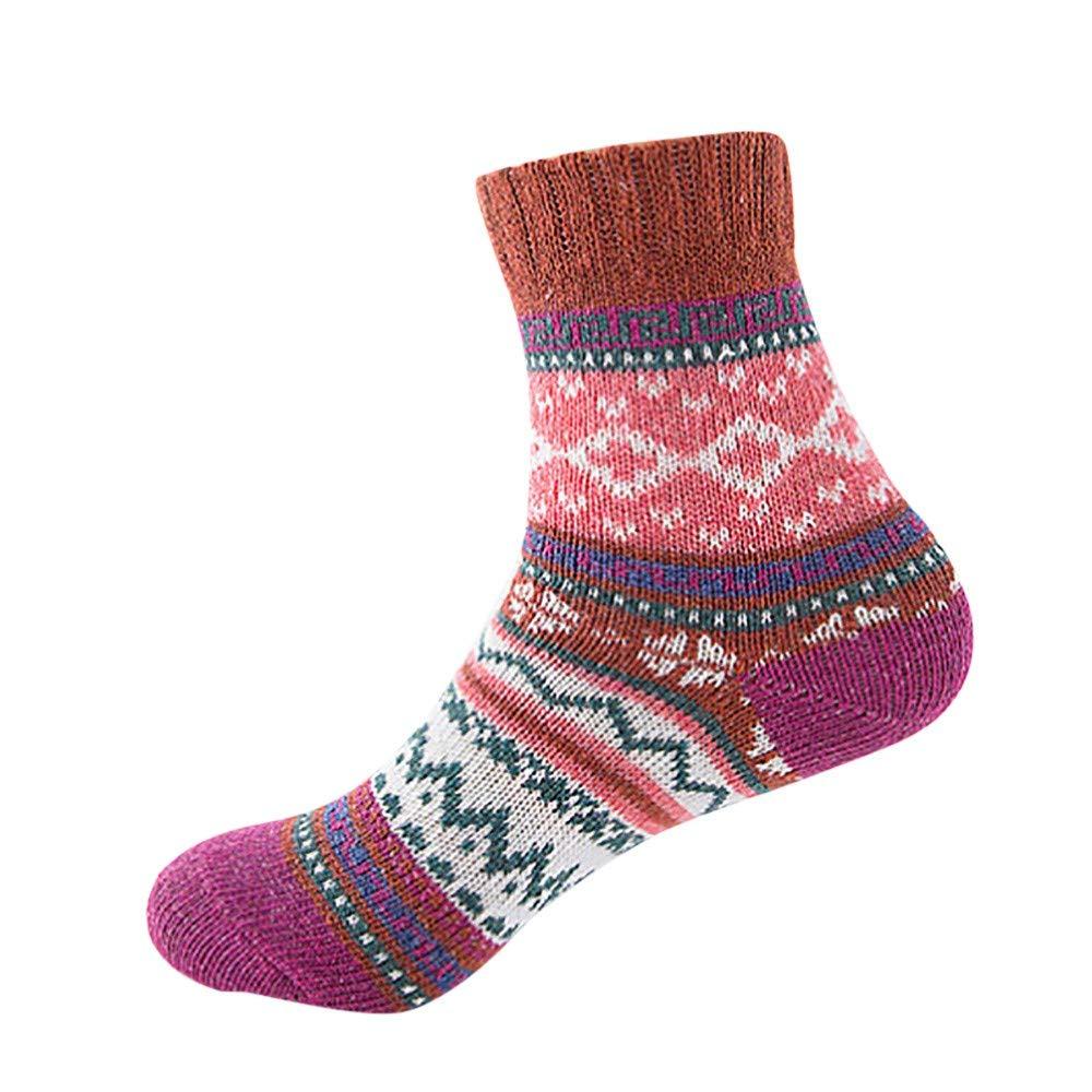 Pumsun Womens Vintage Winter Soft Warm Thick Cold Knit Wool Crew Socks Geometry Print (Coffee)