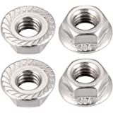 20 Pcs uxcell #6-32 Serrated Flange Hex Lock Nuts 304 Stainless Steel