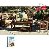Patio Coffee Table Outdoor Furniture Wood Modern Garden Backyard Brown Outside & eBook by AllTim3Shopping
