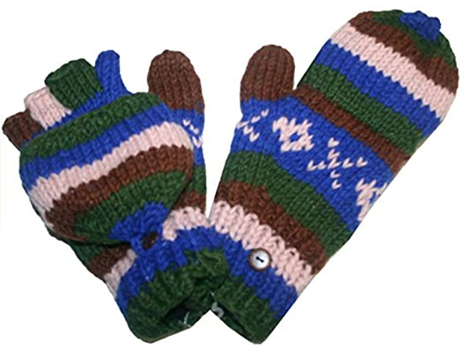1c167c2be18 145 G Agan Traders Hand Knit Wool Lined Folding Mitten (Multi 12) at Amazon  Women s Clothing store