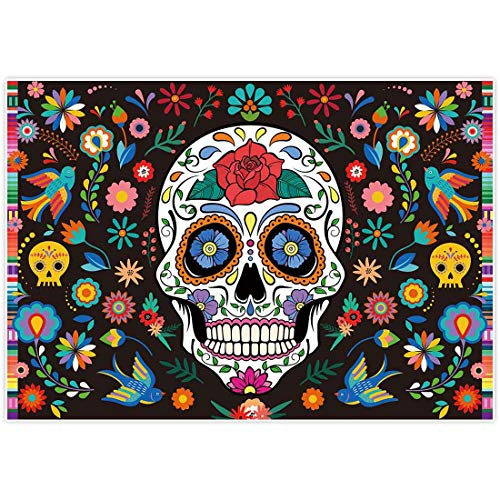 Day Of The Dead Halloween Wallpaper (Allenjoy 7x5ft Day of The Dead Backdrop for Mexican Fiesta Sugar Skull Flowers Photography Background Dia DE Los Muertos Birthday Party Supplies Fiesta Banner Table Decor Decoration Photo Booth)