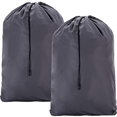 HOMEST 2 Pack Extra Large Travel Laundry Bag [28''x40''] Machine Washable Sturdy Rip-Stop Material Drawstring Closure, Grey