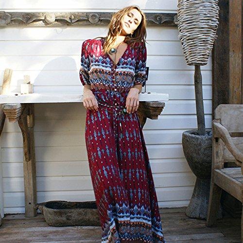 s Print 3 Vintage Sleeve Bohemian Split Women Button Dress BIYOUTH Maxi Red 4 nftWqw0x5