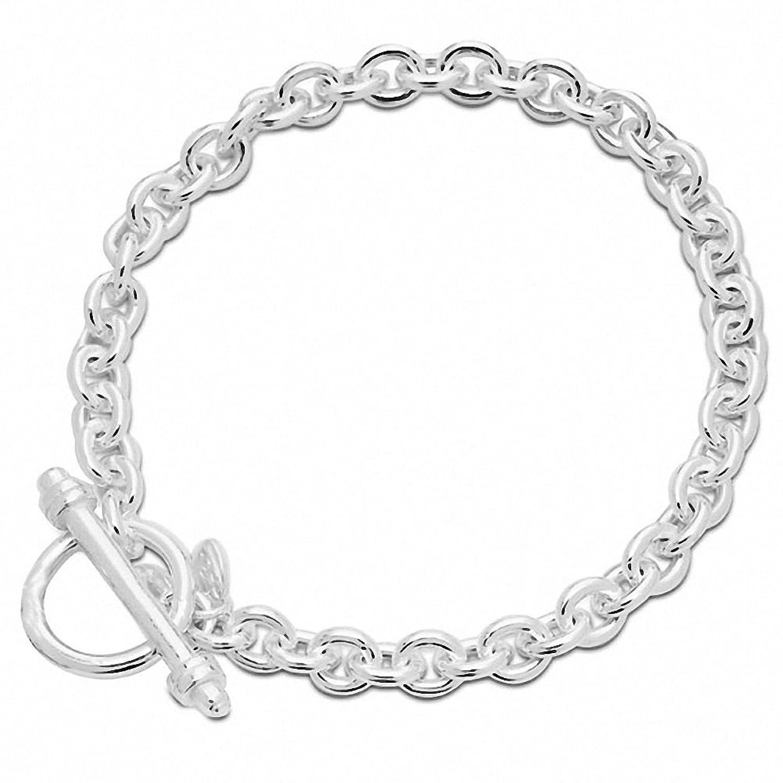 Amazon Amoro Polished 925 Sterling Silver Charm Bracelet 8