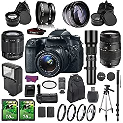 Canon Eos 70d Dslr Camera Bundle With 18-55mm Is Stm Lens & Accessories (17 Items)