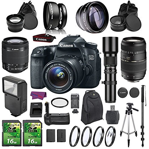 Canon EOS 70D DSLR Camera Bundle with 18-55mm IS STM Lens and Accessories (17 Items) - Super 16mm Film Camera
