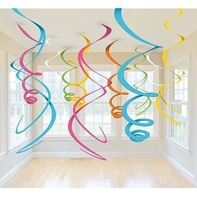 "Amscan Multicolored Plastic Swirls, 12 Ct. | Party Decoration, 22"""