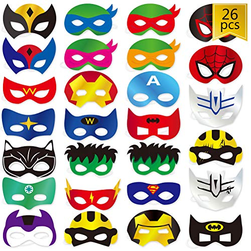 WEEPA Superhero Party Mask, 26 pcs Cosplay Masks Party Supplies for Boys and Girls]()