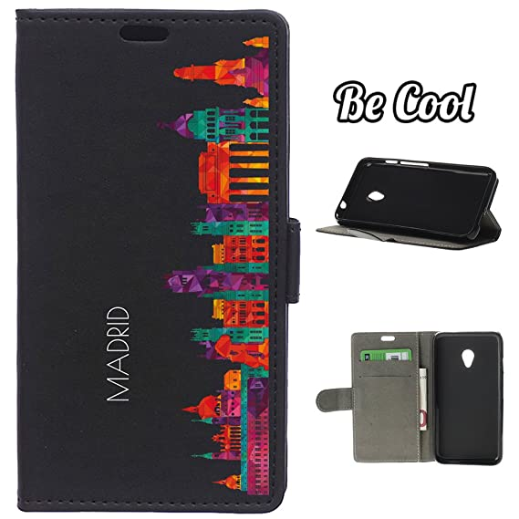 BeCool - Flip Cover Case Vodafone Smart Turbo 7 [ Viewing Stand ] Black Elegant Wallet