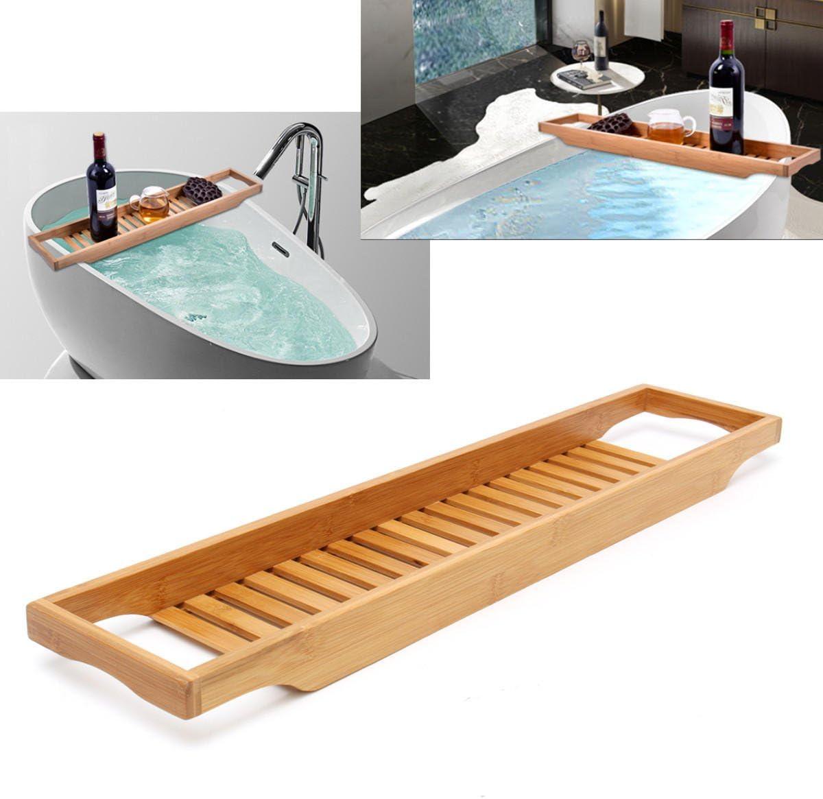 QuickShop - Estante de bambú para baño o bañera: Amazon.es ...