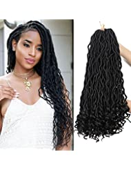6Pcs/Lot Goddess Faux Locs Crochet Hair Wavy Faux Locs with Curly Ends Black Havana Mambo Synthetic Braiding Hair Extension 24 Strands/Pack (1B#)