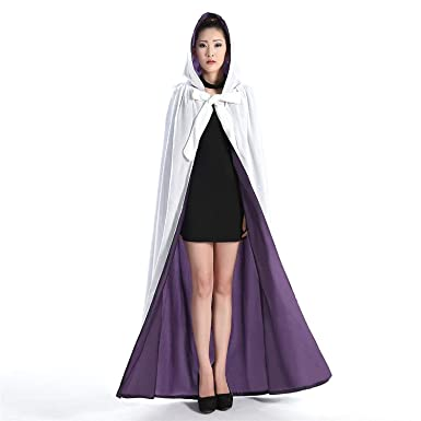 Amazon.com  Hooded Cloak White and Blue Halloween Wizard Robe for Christmas  Fancy Coat  Clothing 90f6f951a