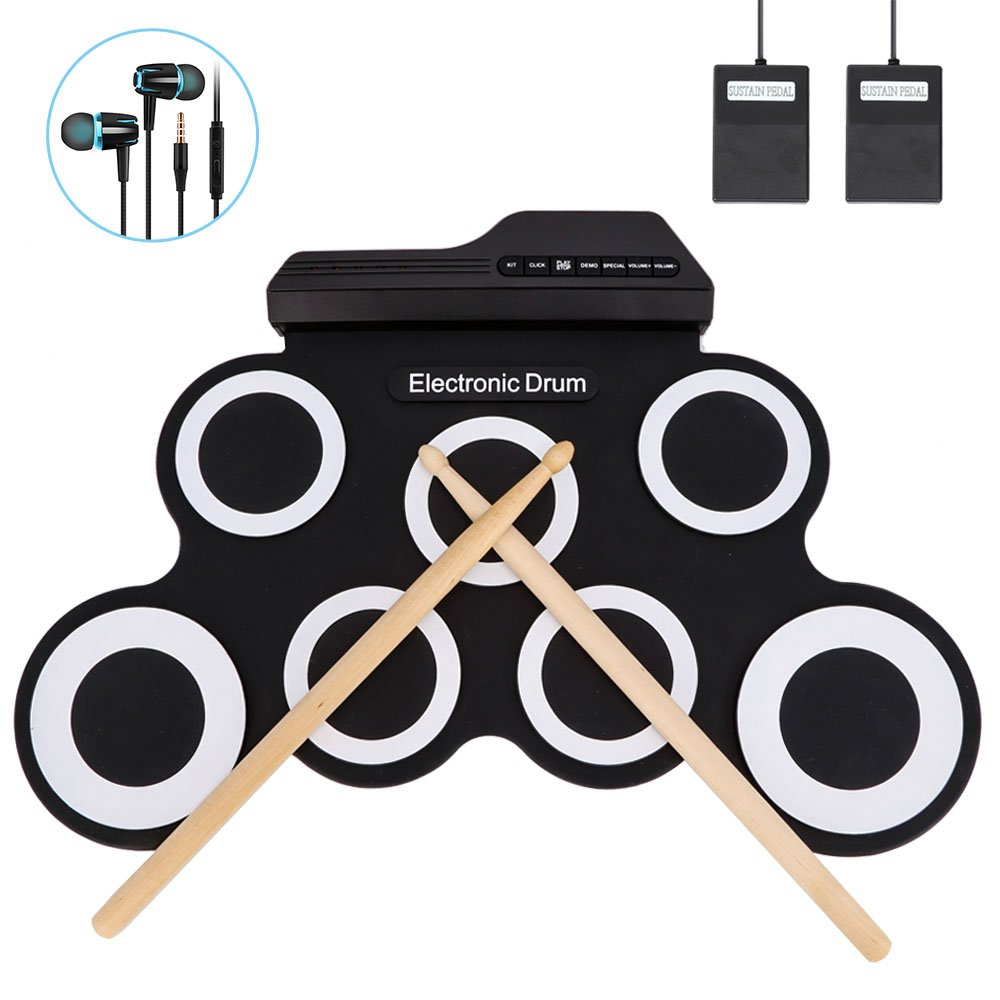 Jacksoo Portable Roll Up Drum, Electronic Digital Drum Pad Kit Musical Practice Instrument with Foot Pedals Drum Sticks for Kids Beginners Children (Not Built-in Speaker)