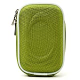 Protective Slim Eva Carrying Hard-shell Case (Green Nylon) For Canon PowerShot ELPH 320 330 340 350 360 500 510 520 530 540 550 HS + Determination Hand Strap