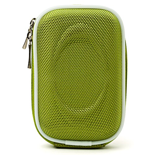 Slim Eva Carrying Hard-Shell Case Green for Canon PowerShot Camera + Determination Hand Strap