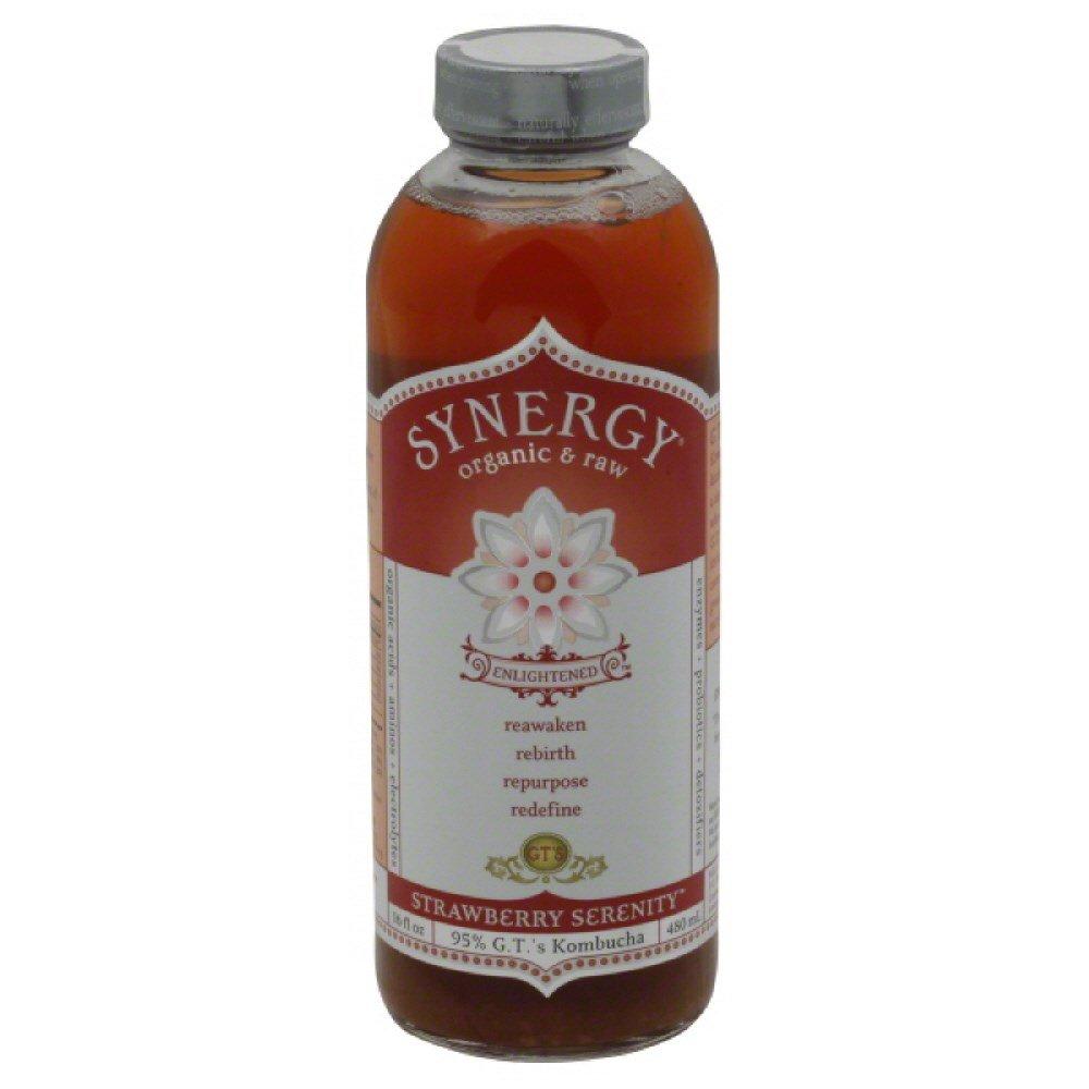 GTs Enlightened Synergy Organic and Raw Kombucha Strawberry Serenity, 16 Ounce -- 12 per case.