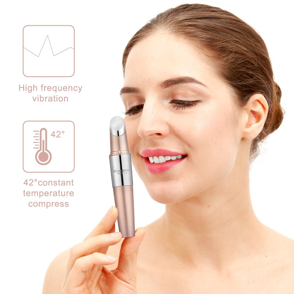 Facial Massager, iCoostor Portable Vibrating Eyes Ionic Massager Heated Facial Infusion Rollers for Skin Care Oil Booster (Rose Gold) by iCoostor (Image #4)